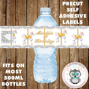 7e36ab1d3433 Details about PERSONALISED PINK CAROUSEL HORSE WATER BOTTLE LABELS BIRTHDAY  PARTY FAVOUR GIFT