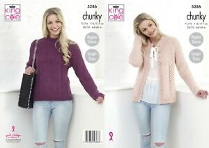 8a8a5446f340 Image is loading LADIES-SWEATER-amp-CARDIGAN-IN-CHUNKY-YARN-KNITTING-