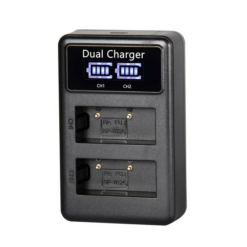 Dual Battery Charger Dock for Fujifilm NP-W126 X-A3 X-E1 X-Pro 1 X-T2 X-T20