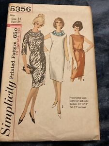 VINTAGE SIMPLICITY #5356 PATTERN FOR MISSES SIZE 14 ONE-PIECE DRESS & SCARF