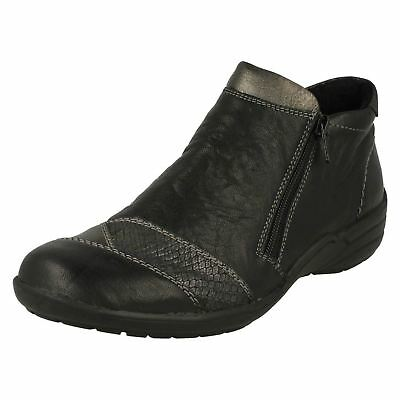 ladies remonte r7671 black leather zip up casual ankle