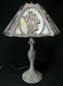 ANTIQUE-LEAD-LAMP-Slag-Glass-SIX-PANEL-rare-lead-overlay-medium-body