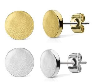 eed38055a Image is loading Flat-ROUND-Stud-Earrings-Hypoallergenic-316L-Steel-GOLD-