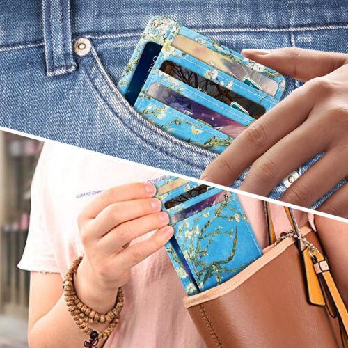 Women RFID Blocking Leather Credit Card Holder ID Case Pocket Wallets for Men