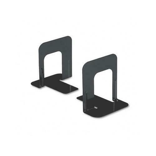 Universal Economy Basic Standard Bookends Nonskid Metal Strong Steel Black 5/""