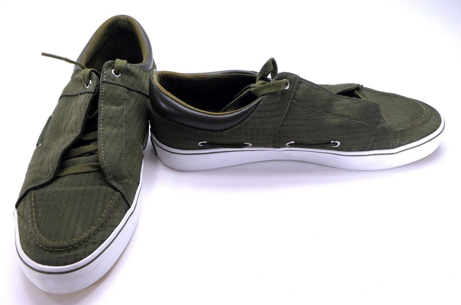 Creative Recreation Boat Shoes Luchese Ripstop Miliary/Yellow Topsiders Size 11 Scarpe classiche da uomo