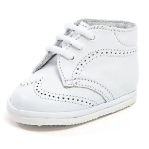33bae9ec0 Details about Baby Boy White Leather High Top shoes with Laces   Stitch  Design  Size 0 to 3