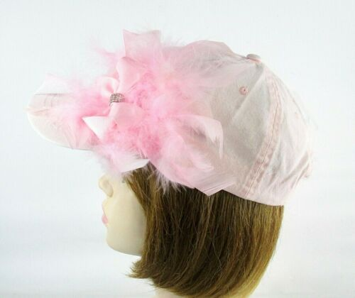 Pink Baseball Cap Hat Bow Rhinestones Chandelle Feathers Red Hat Ladies
