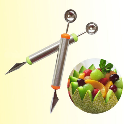 Stainless Steel Ice Cream Double-End Scoop Spoon Melon Baller Cutter Fruit kw