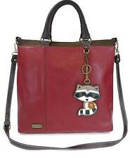 Burgundy Convertible Square Tote -W/Removable Raccoon Key Chain By Chala-W/Tags