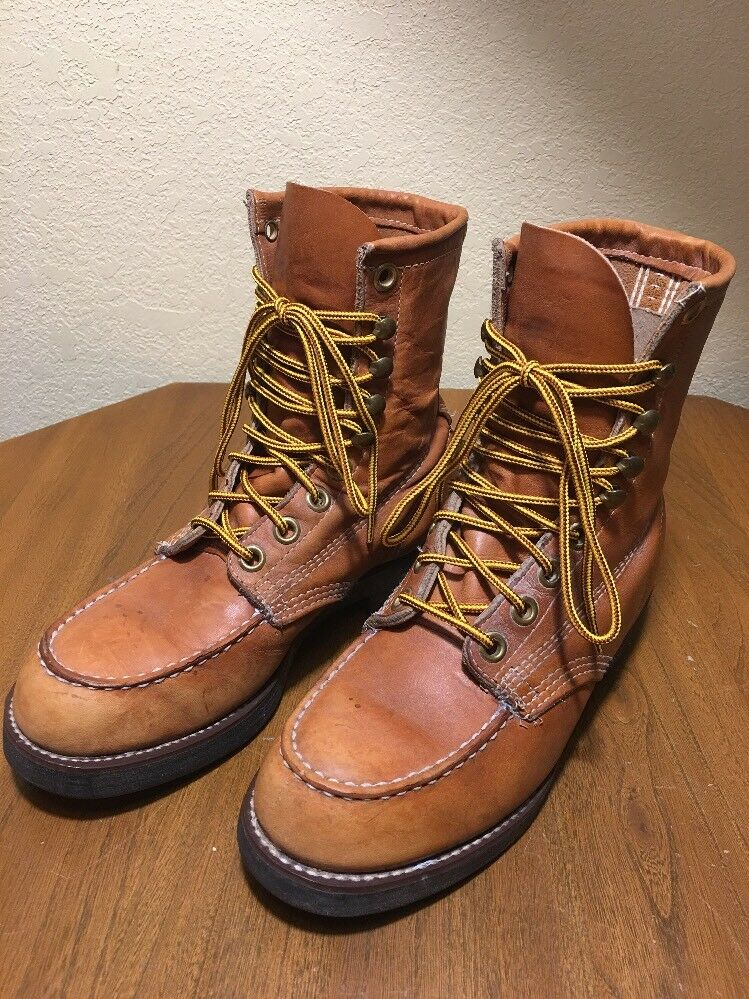 Vtg Lace Up Work Sport Hunt Boots Moc Toe Neoprene Oil Resist Soles Men 6R