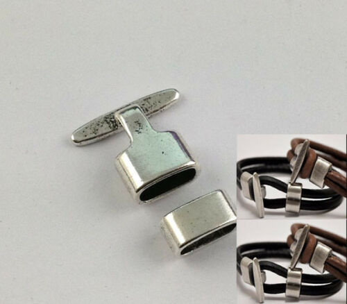 5 Sets of Antiqued Bronze//silver Hook Clasps for 10x5mm leather For Bracelet etc