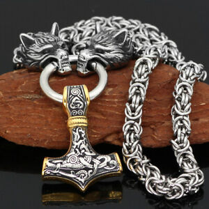 Men-039-s-Norse-Viking-Stainless-Steel-Chain-amp-Thor-hammer-Mjolni-Pendant-Necklace