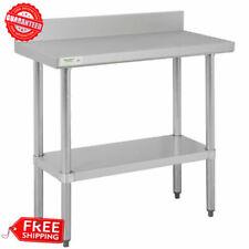 Stainless Steel Work Prep Table 18 X 36 Commercial Restaurant With Backsplash