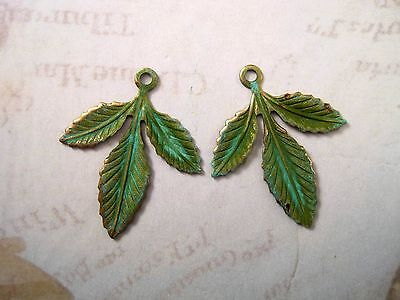 Large Verdigris Patina Brass Leaf Charms (2) - VPS3837