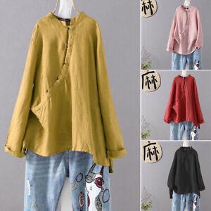 ZANZEA-8-24-Women-Long-Sleeve-Blouse-Tee-T-Shirt-Asymmetric-Button-Up-Cotton-Top