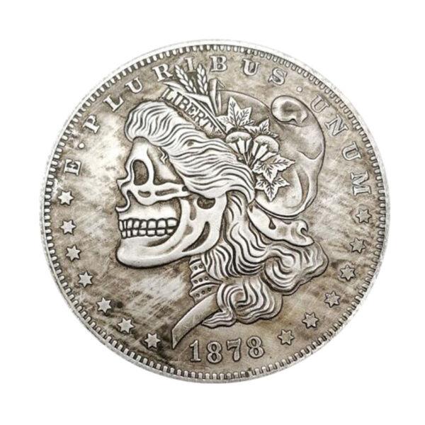 100% De Qualité Hand Carved Us 1878cc Morgan Dollar Coin Hobo Creative Skull Free_shipping 2pc