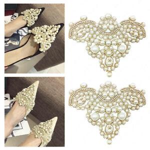 2pcs-Pearls-Flower-Rhinestones-Diamante-Wedding-Bridal-Shoe-Clips-Buckle-Decor