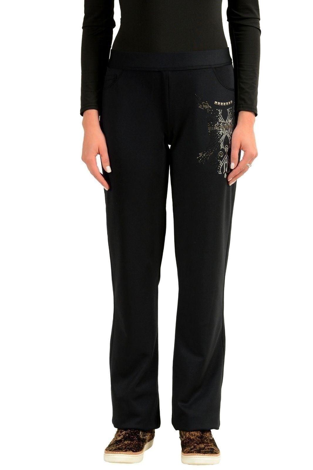 Versace Negro Adornado Cintura Elástica Mujer Pantalones de Chándal Eu  4 It 40  mejor moda