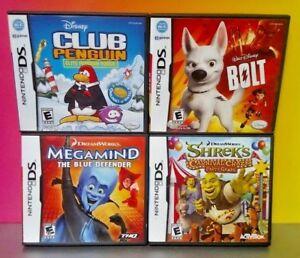 Disney-Game-Lot-Club-Penguin-Bolt-Shrek-Megamind-Nintendo-DS-DS-Lite-3DS-2DS