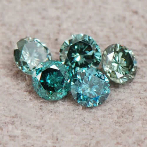 SI2-I2 Natural Blue Diamond Set 0.25CT Excellent Round Shape With Certificate