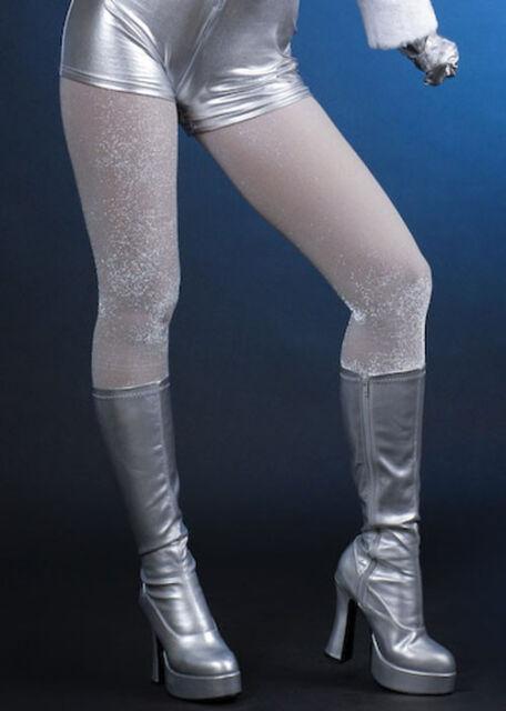 70's Glam Rock Silver Glitter Sparkle Tights