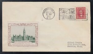 Canada-1940-ROYAL-VISIT-LABEL-BC-ADVERTISING-Cover-Vancouver-to-USA