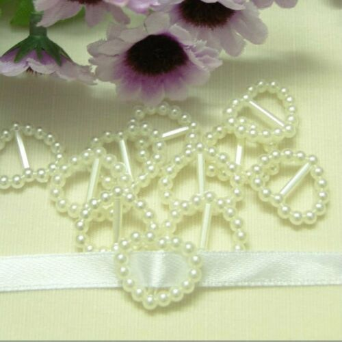 80pcs 16x15mm Cream Ivory Heart Buckle Ribbon Sliders Wedding Resin Pearls C14