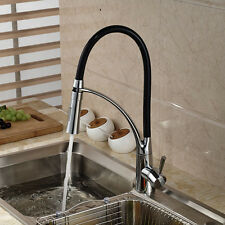 Black Chrome Kitchen Sink Faucet Deck Mount Pull Out Dual Sprayer Nozzle hot col