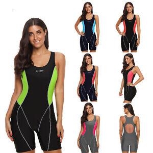 Women-One-Piece-Swimsuit-Sleeveless-Swimwear-Kneeskin-Water-Sports-Bathing-Suit