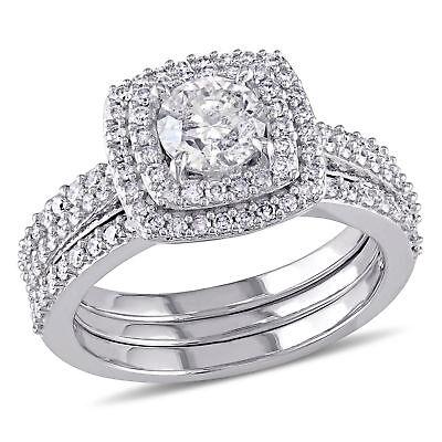Amour 1 1/2 CT TW Double Halo Diamond Bridal Set in 10k White Gold