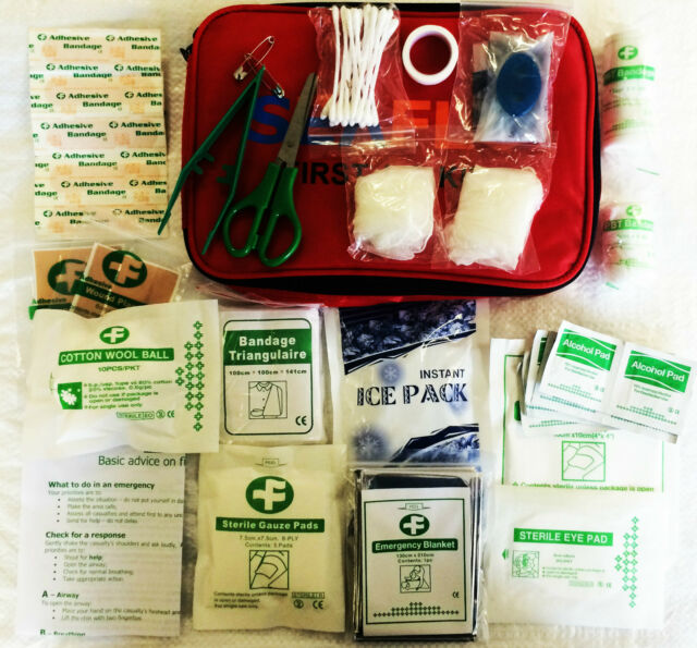 61 pc FIRST AID CAMPING HIKING EMERGENCY KIT motorhome caravan car home office