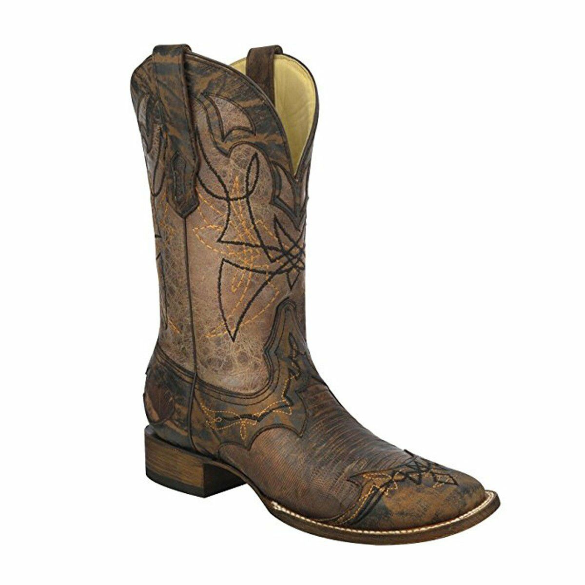 CORRAL Men's Distressed Lizard Cowboy Boot Wide Square Toe - A3096