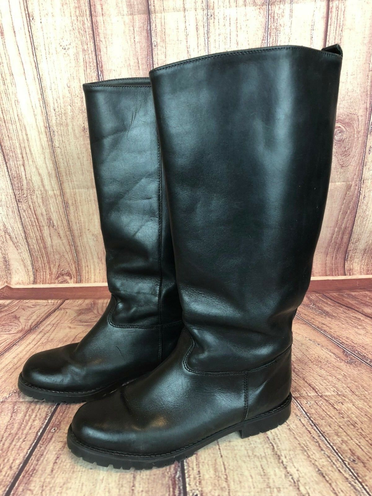 Vintage Eddie Bauer Womens 8B Black Leather Shearling Lined Equestrian Boots d7k