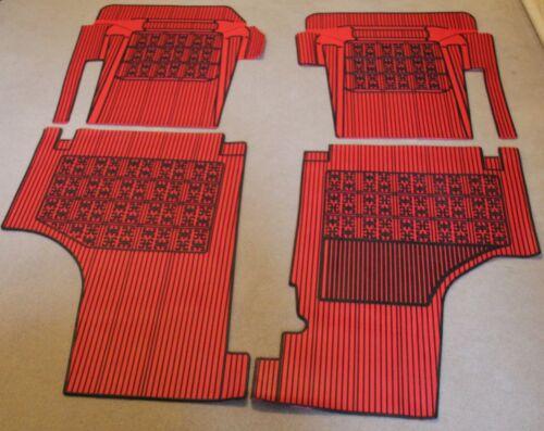 CLASSIC FIAT 500 RUBBER MAT SET 4 PIECE INTERIOR CARPET SET TRIM RED AND BLACK