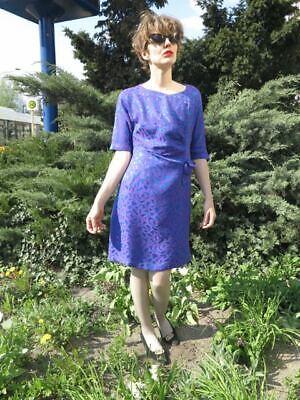 Costante Donna Abito Miniabito Blu Lilla A Mano 80er Truevintage 80s Women's Dress-mostra Il Titolo Originale Ineguale Nelle Prestazioni