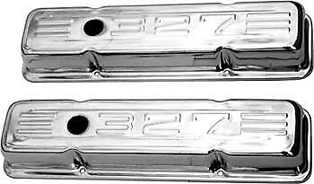 Bandit Engine Valve Cover Set 9854; Chrome Steel for 1958-1986 Chevy 265-400 SBC