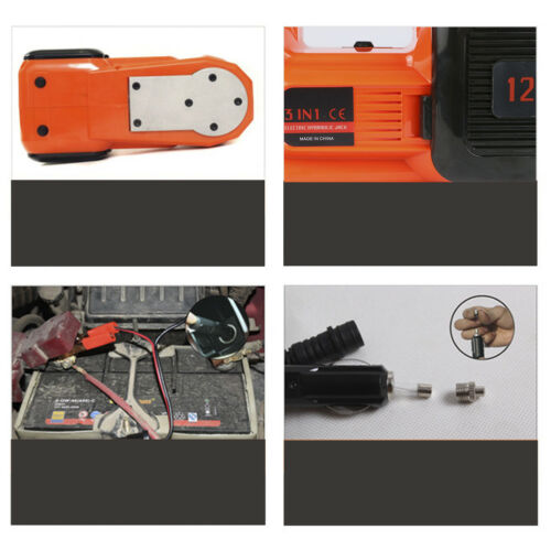 12V DC 5T 4in1 Electric Hydraulic Floor Jack Tire Inflator Pump LED Flashlight