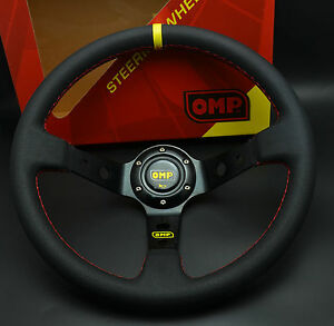 350mm-Dia-Leather-Deep-Dish-Steering-Wheel-OMP-Drifting-SPC-Race-Rally-Red-Stic