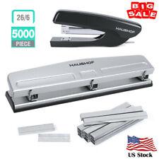 Haushof Desktop Stapler Set Punch Set With5000pc Staples Staple Remover Heavy Duty
