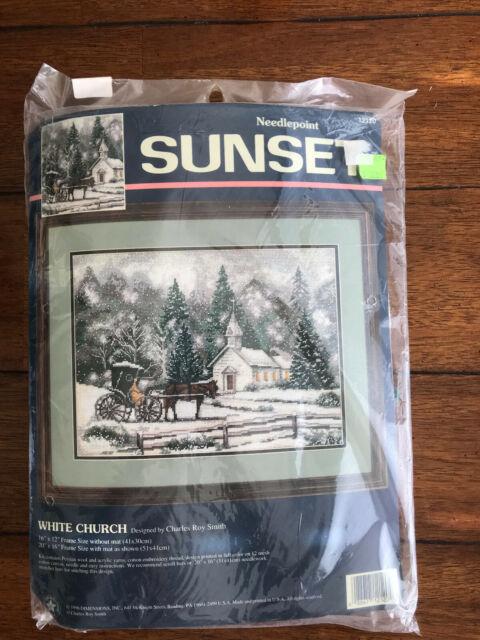 Sunset Needlepoint Kit #12120 White Church Amish Buggy Winter Snow Scene 16  X 12
