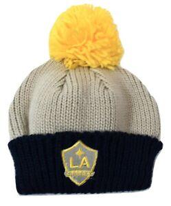 adidas MLS Youth Girls Los Angeles Galaxy Cuffed Pom Beanie Winter Knit Hat