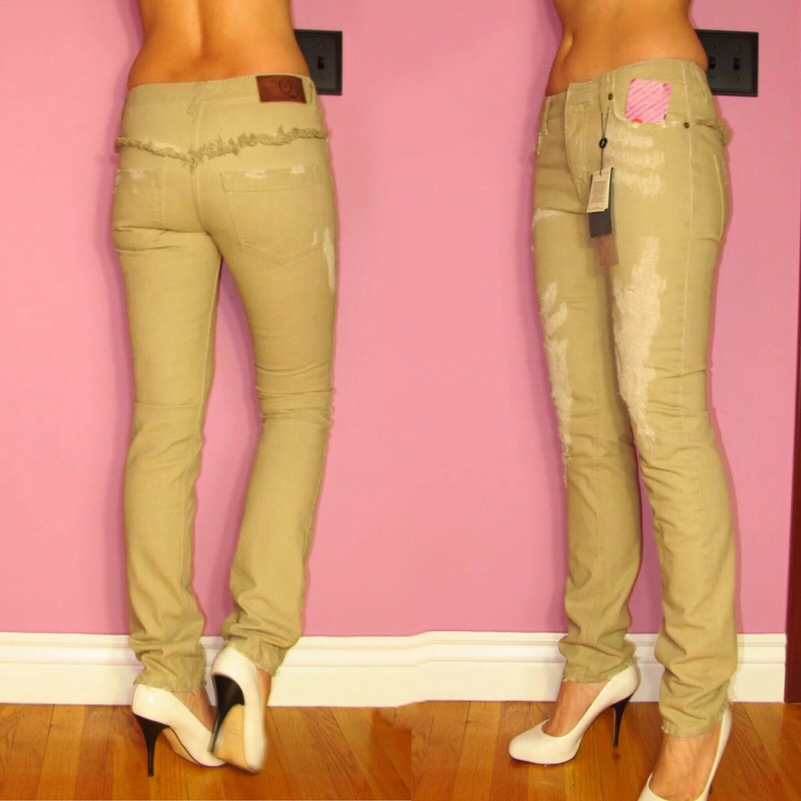 Alexander McQueen  Beige Sand Distressed Skinny Mid-Rise Jeans 26 US 4
