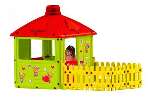 XXL Kinderhaus Spielhaus mit Terrasse mit Zaun Kinderspielhaus Kinder