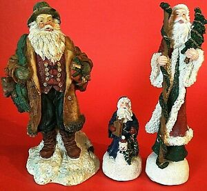 SANTA CLAUS FIGURINES VINTAGE MUSICAL WISH YOU A MERRY CHRISTMAS LOT OF 3