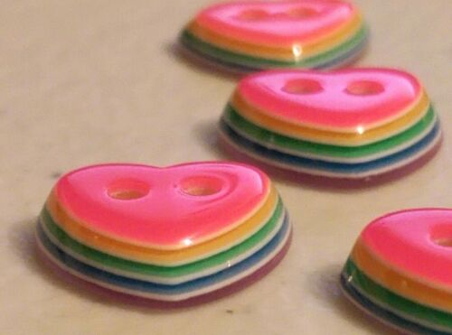 """213 Lot of 20 RAINBOW Layered HEARTS 2-hole Resin Buttons 1//2/"""" Craft Scrapbook"""