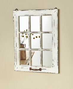 Distressed-Wood-Windowpane-Mirror-Country-Farmhouse-Home-Decor-White-Natural-Red