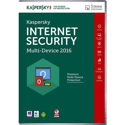 Kaspersky Internet Security Multi-Device 2016 - 5 PC / 1 Jahr - Code er E-mail