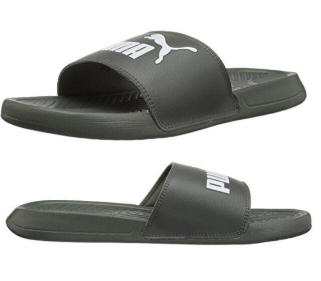 PUMA Popcat Slides Castor Gray White Sandals Flip Flops Mens Sz 9 ... 1bb0d495a