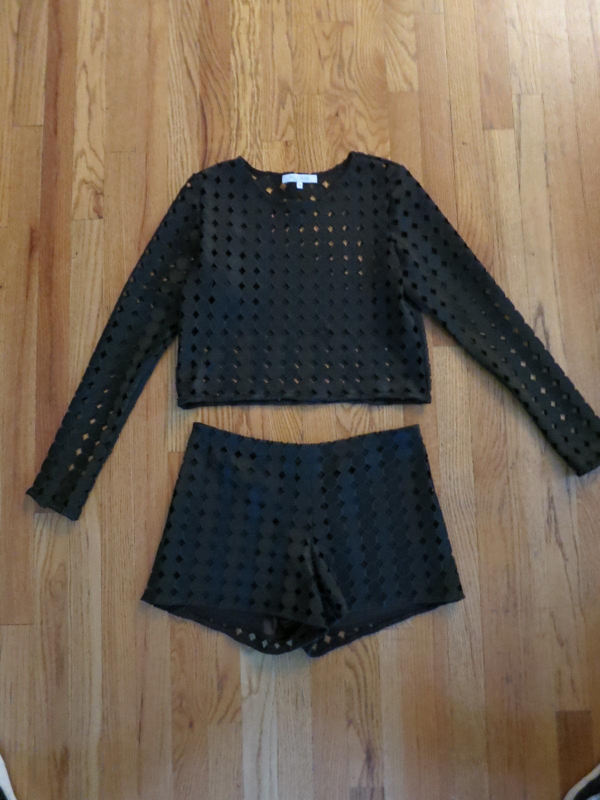 Nuevo sin etiquetas ALEXIS Negro Pantalones Cortos Set  Con Apliques circular Talla M Precioso Raro  más descuento